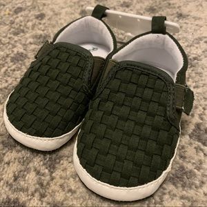 Green Canvas soft sole baby shoe